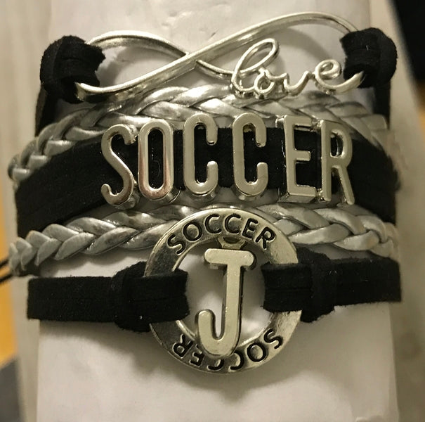 Personalized Soccer Infinity Bracelet with Letter Charm