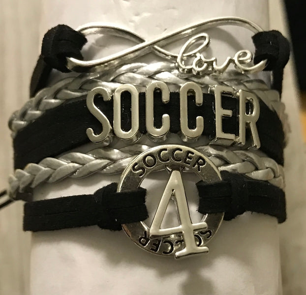 Personalized Soccer Infinity Bracelet with Number Charm