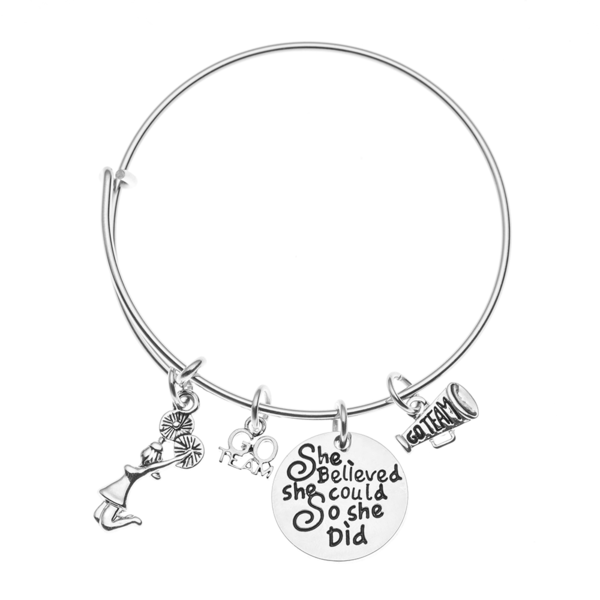 Girls Cheer Bangle Bracelet - She Believed She Could So She Did - Sportybella