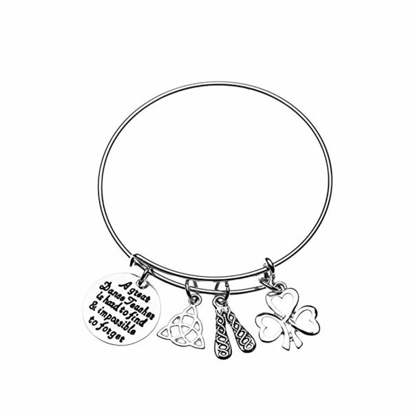 Irish Dance Teacher Charm Bangle Bracelet