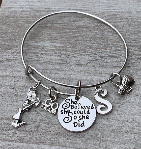 Personalized Cheer Bangle Bracelet - She Believed She Could So She Did