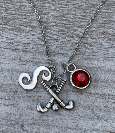 Personalized Field Hockey Stick Necklace with Letter & Birthstone Charm