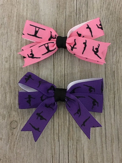 Girls Gymnastics Hair Bows - 2pc
