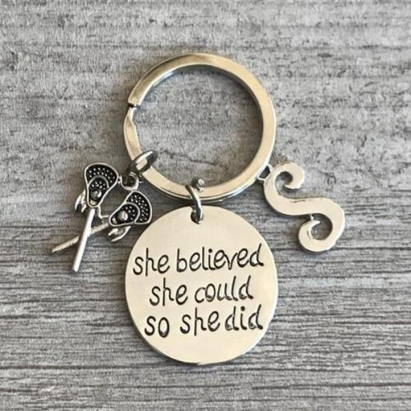 Personalized Lacrosse Keychain - She Believed She Could So She Did - Sportybella