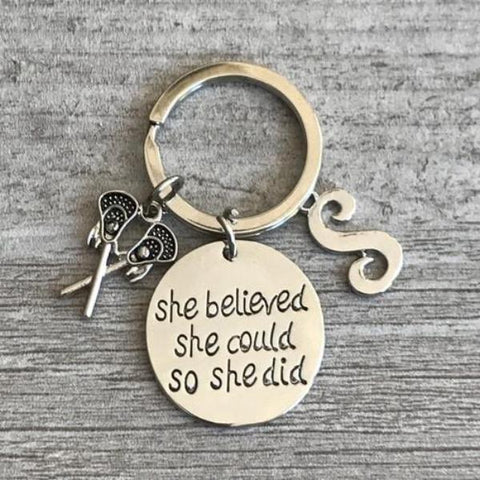 Lacrosse Keychain - She Believed She Could So She Did