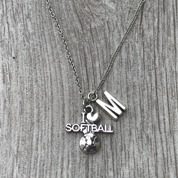 Personalized Love Softball Necklace