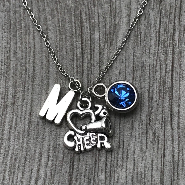 Personalized Cheer Necklace with Initial & Birthstone