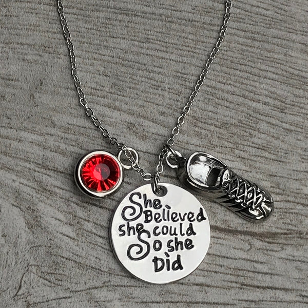 Personalized Runner Necklace - She Believed