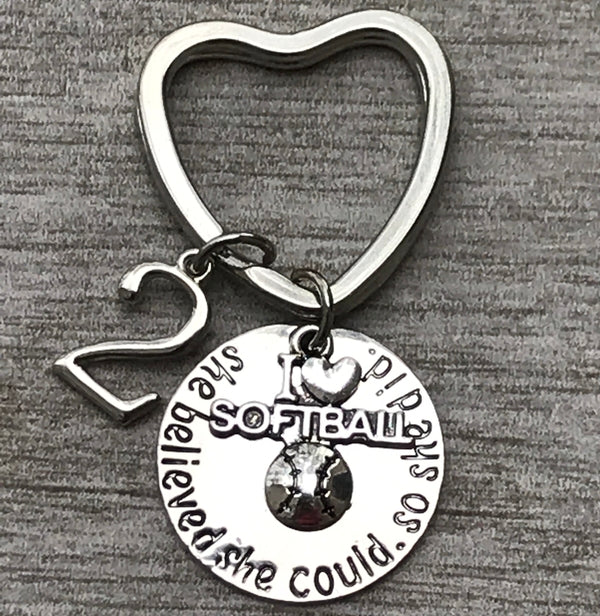 Personalized Softball Keychain, She Believed She Could