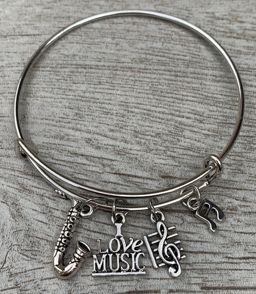 Saxophone Charm Bangle Bracelet