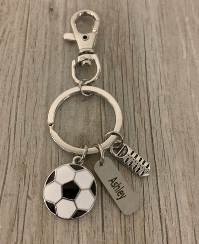 Soccer Zipper Pull with Engraving