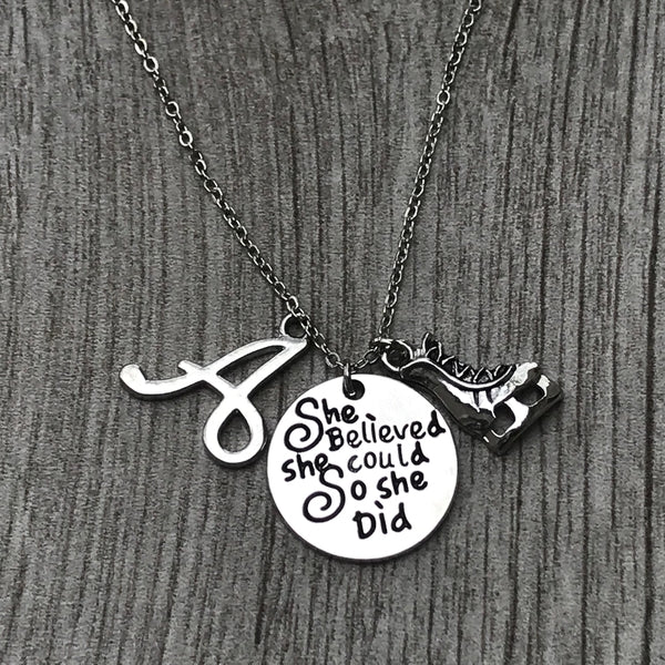 Personalized Figure Skating She Believed She Could So She Did Necklace