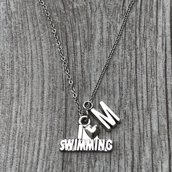 Personalized Girls Swim Necklace with Letter Charm