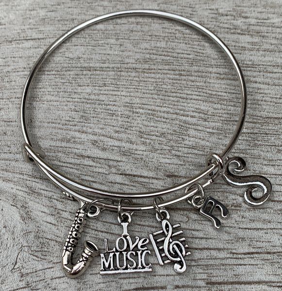 Personalized Saxophone Charm Bangle Bracelet with Letter Charm