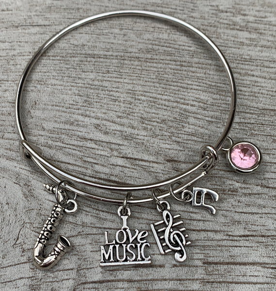 Personalized Saxophone Charm Bangle Bracelet with Birthstone