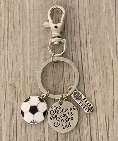 Personalized Soccer Keychain with Jersey Number Charm, Custom Soccer Gift