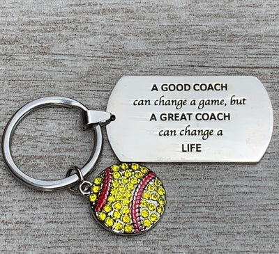 Softball Coach Keychain- Great Coach Can Change a Life