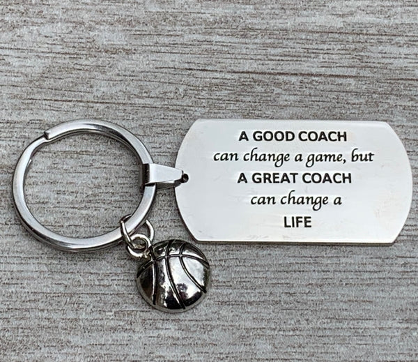Basketball Coach Keychain - A Great Coach Can Change a Life - Sportybella