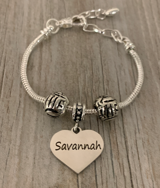 Personalized Volleyball Beaded Engraved Bracelet