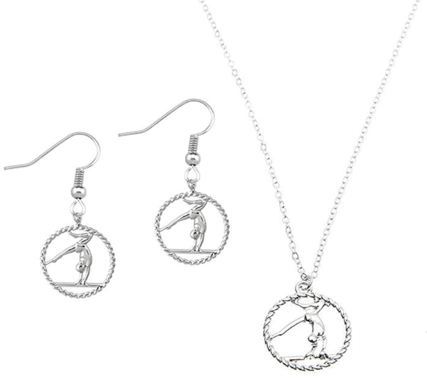 Gymnastics Necklace & Earrings Set