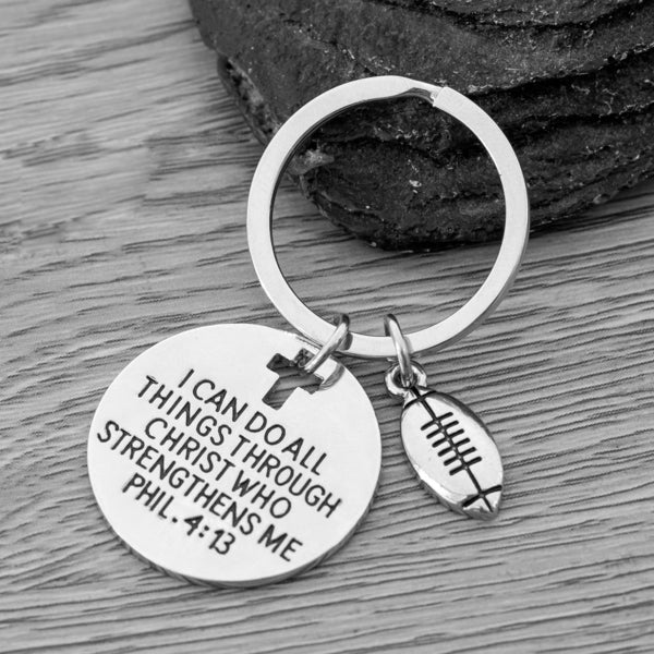 Football Charm Keychain, Christian Faith Charm Keychain, I Can Do All Things Through Christ Who Strengthens Me
