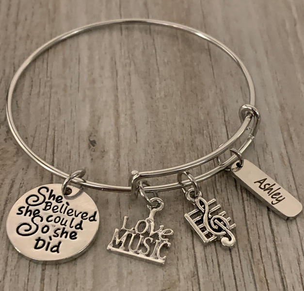 Personalized Music She Did Bangle Bracelet