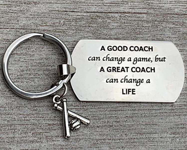 Baseball Coach Keychain, A Good Coach Can Change a Game But a Great Coach Can Change a Life - Sportybella