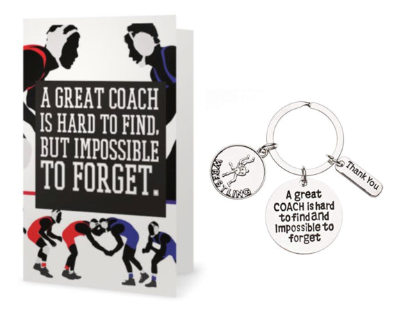 Wrestling Great Coach is Hard to Find Coach Keychain & Card Set