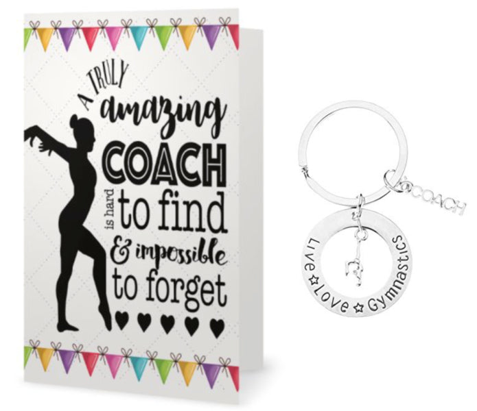 Gymnastics Coach Keychain & Card Gift Set