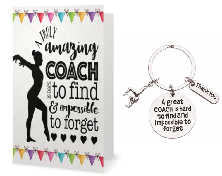Gymnastics Coach Keychain & Card Set