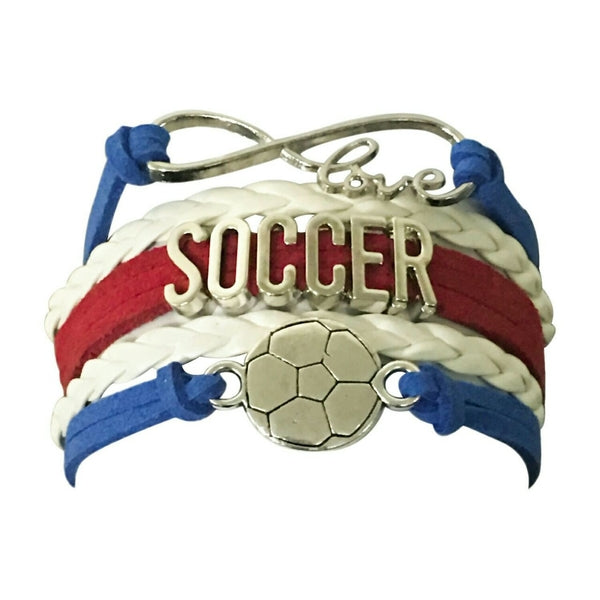 Girls Soccer Infinity Bracelet- Red, White & Blue