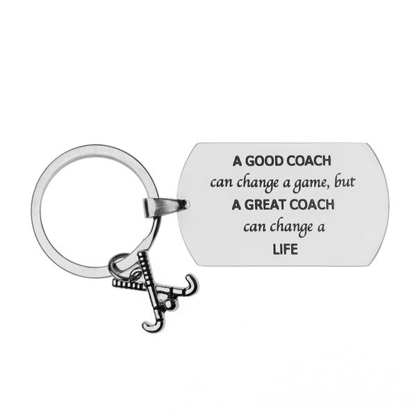 Field Hockey Coach Keychain - A Good Coach Can Change a Game But a Great Coach Can Change a Life