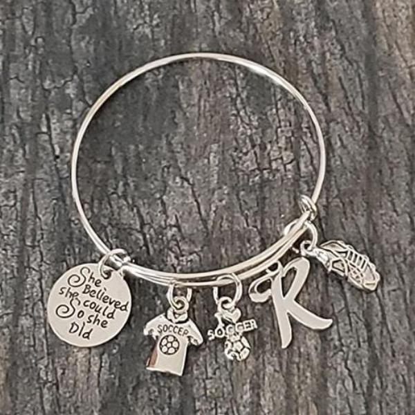 Personalized Soccer She Believed She Could So She Did Bangle Bracelet