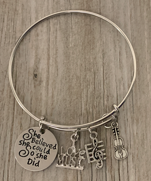 Violin Bracelet - She Believed She Could