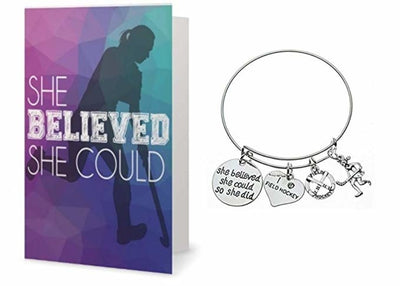 Field Hockey Bracelet & Card Gift Set