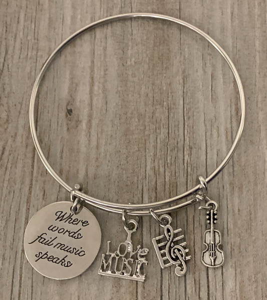 Violin Bracelet - Where Words Fail Music Speaks Bangle