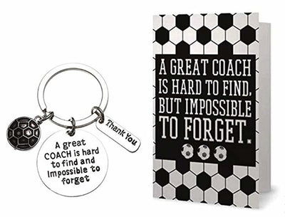 Soccer Coach Keychain & Card Gift Set, Great Coach is Hard to Find