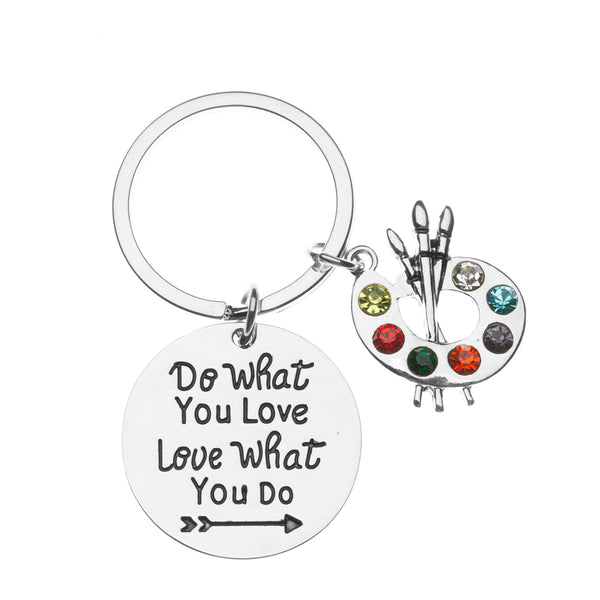 Artist Paint Palette Keychain, Do What You Love Painters Jewelry