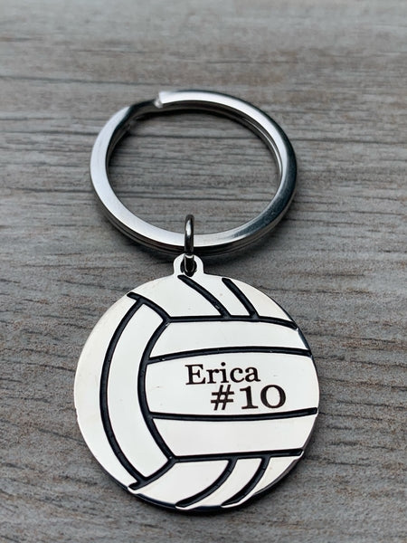 Personalized  Engraved Volleyball Keychain