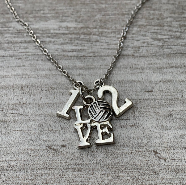 Personalized Love Volleyball Charm Necklace with Number Charms