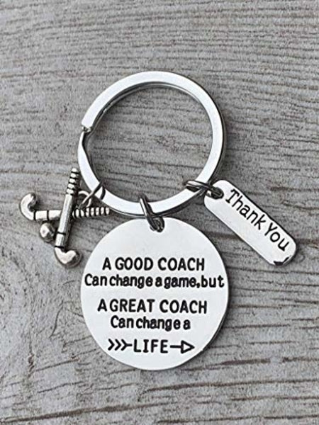 Field Hockey Coach Keychain- Great Coach Can Change a Life