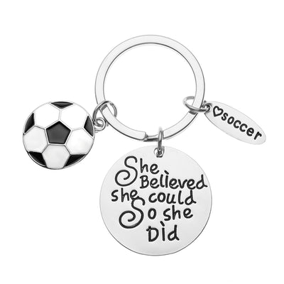 Girls Soccer She Believed She Could Keychain