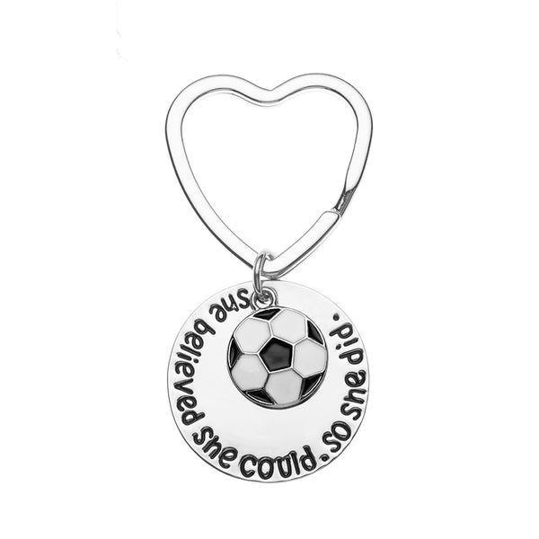 Girls Soccer She Believed She Could Heart Keychain