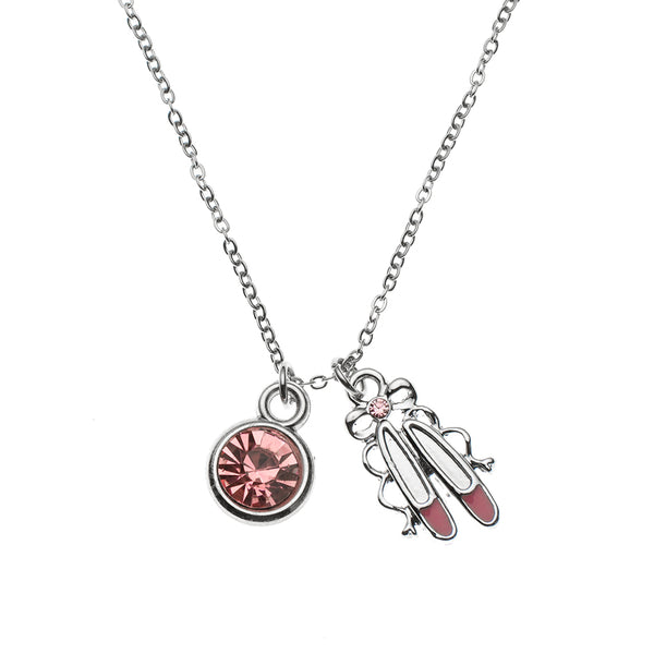 Girls Pink Ballet Necklace