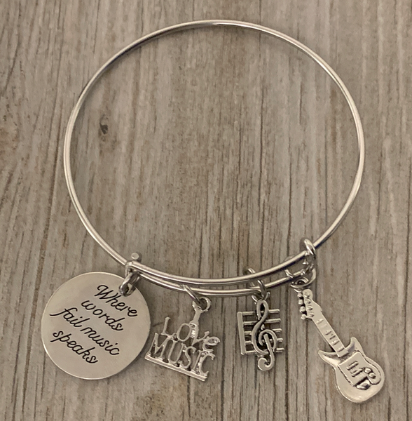 Guitar Bracelet - Where Words Fail Music Speaks Bangle