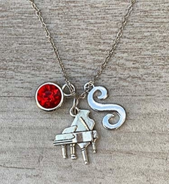 Personalized Piano Necklace with Birthstone & Letter