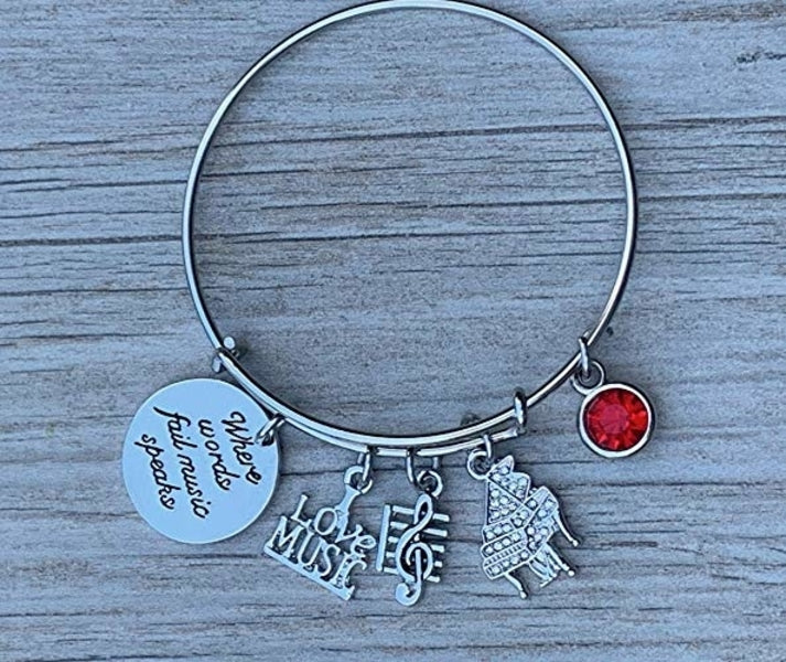 Personalized Piano Bracelet - Birthstone