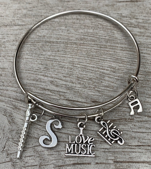Personalized Flute Charm Bangle Bracelet with Letter