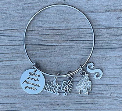 Personalized Piano Bracelet - Letter Charm