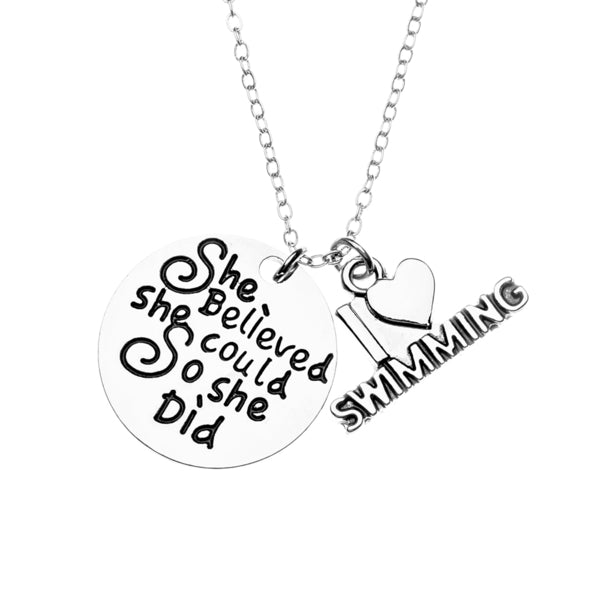 Girls Swim She Believed She Could So She Did Necklace